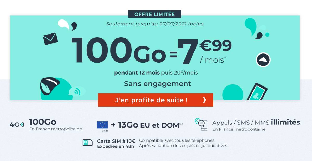 Cdiscount Mobile 100 GB package for sales
