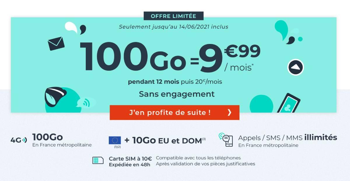 forfait Cdiscount Mobile 100 Go en juin 2021
