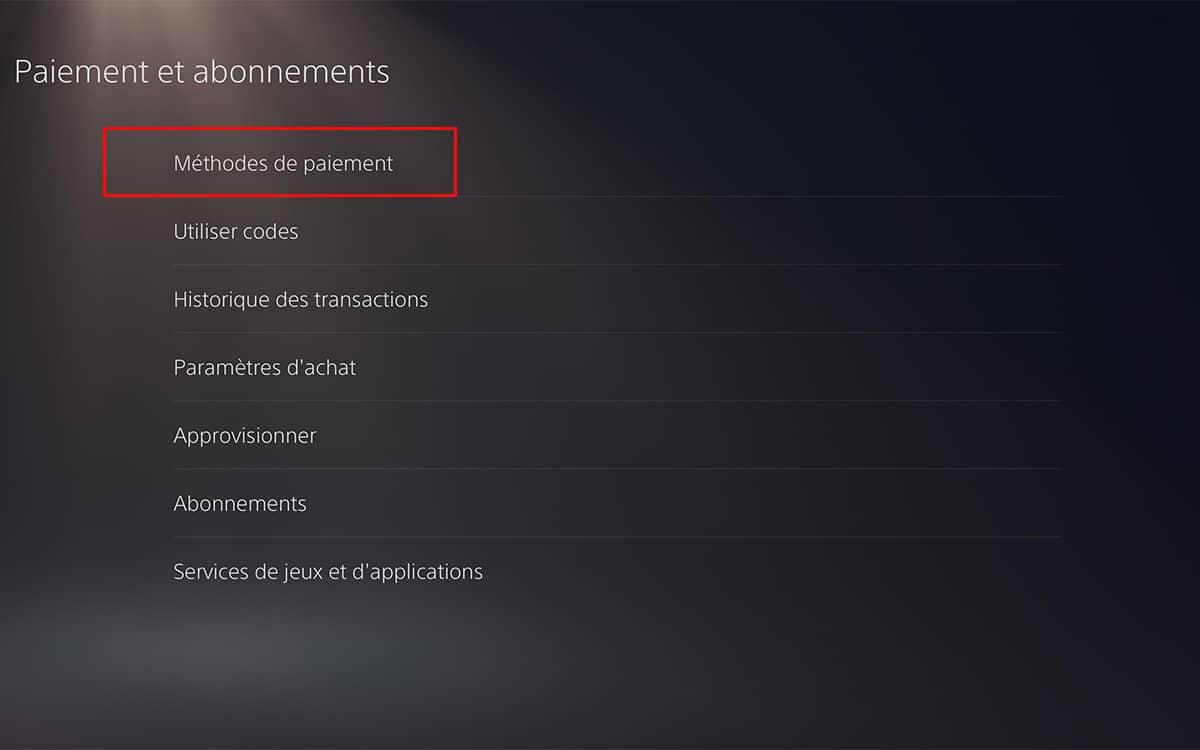 méthodes de paiement PS5