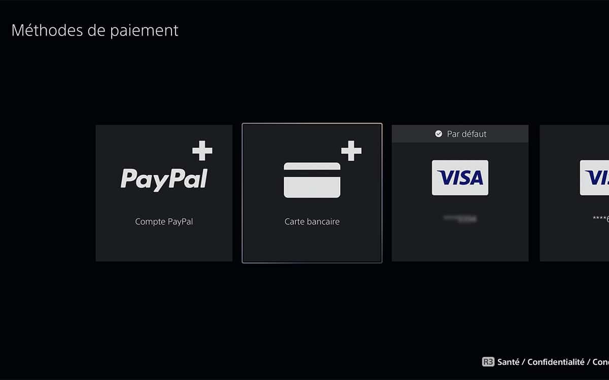 moyen paiement PS5