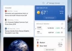 windows 10 menu actualités champs interets