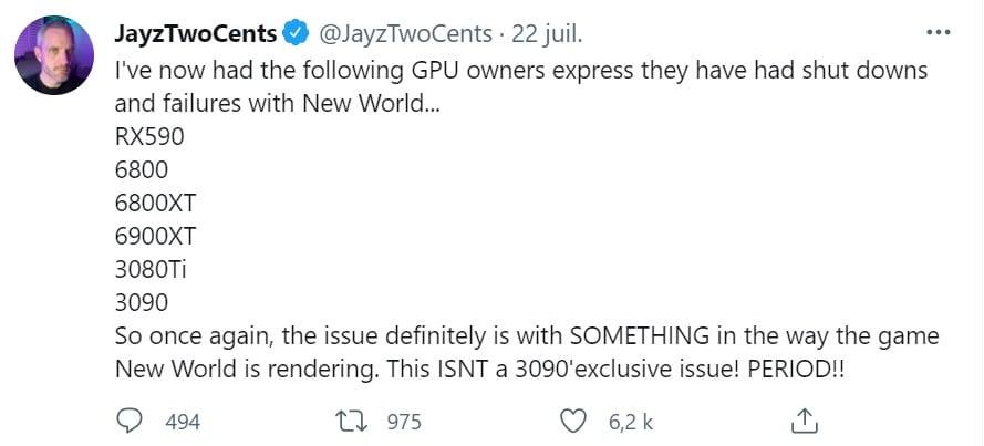 tweet New World GPU AMD