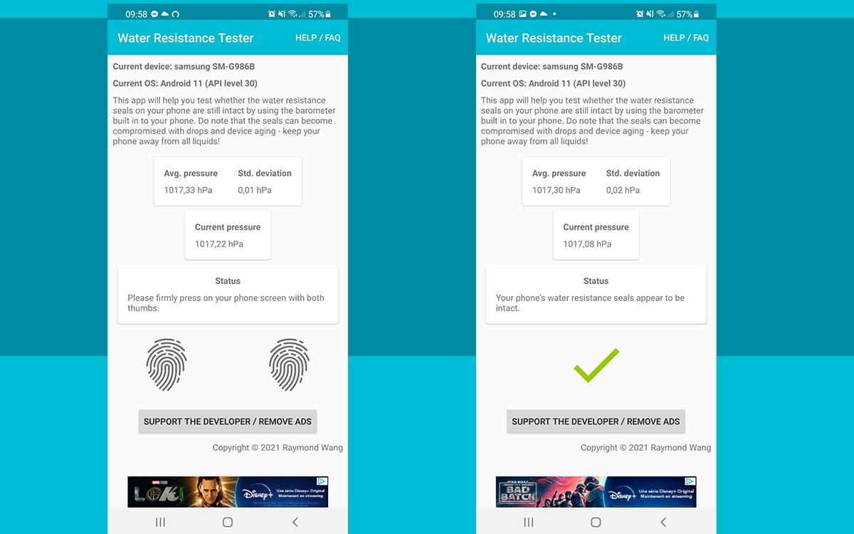 app tester étancheité smartphone