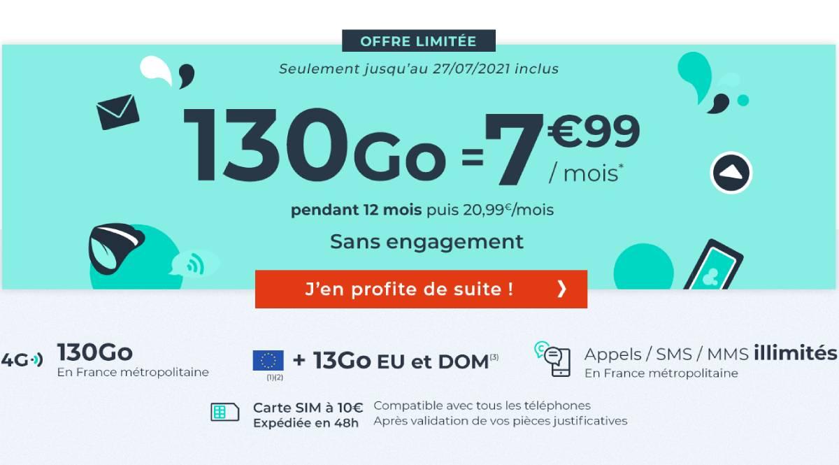 forfait Cdiscount Mobile 130 Go pas cher