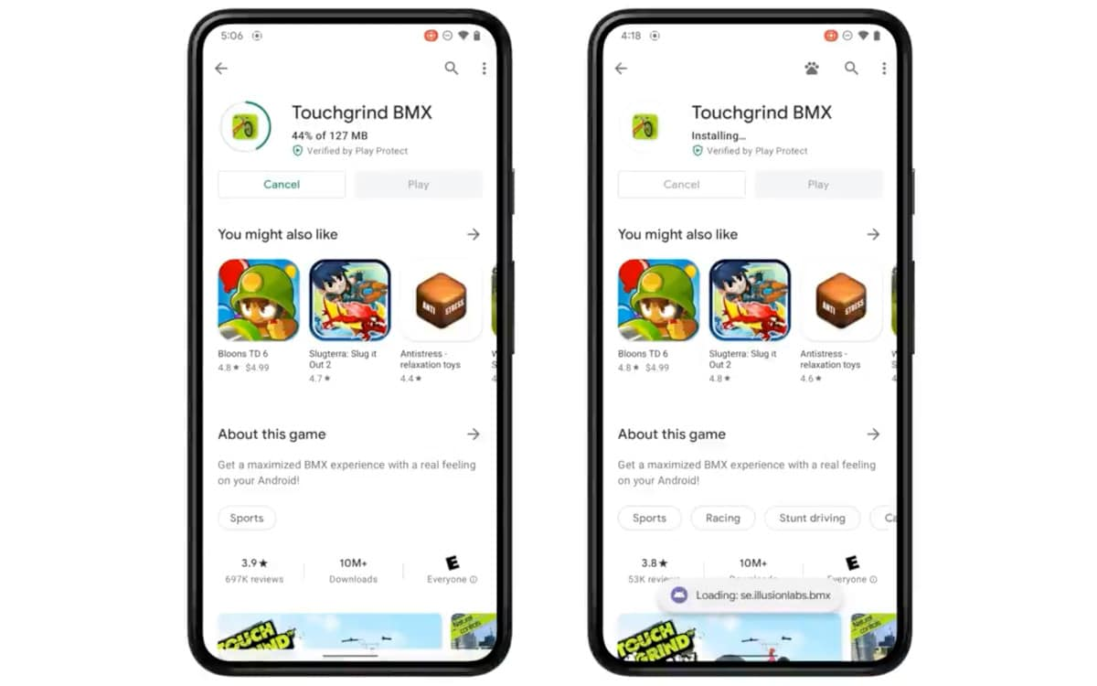 google android 12 play as you download