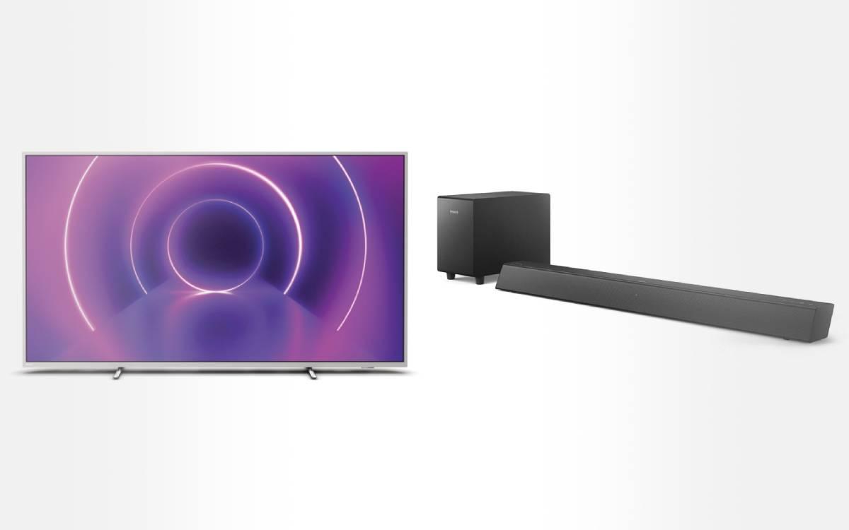 pack TV LED QLED Philips The One avec barre de son chez Darty