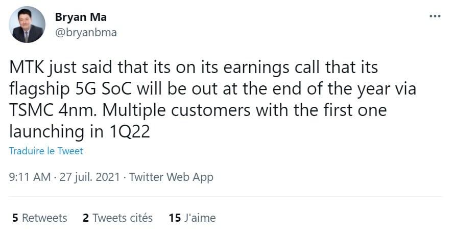 tweet SoC Mediatek 4 nm