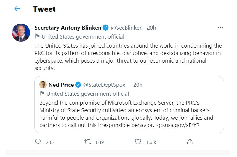 tweet USA accuse Chine piratage microsoft exchange