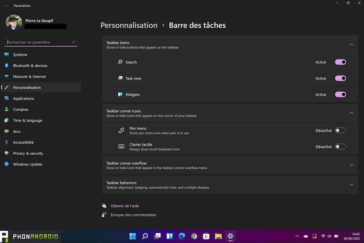 Barre des tâches Windows 11