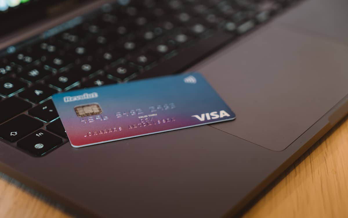 Credit card on computer