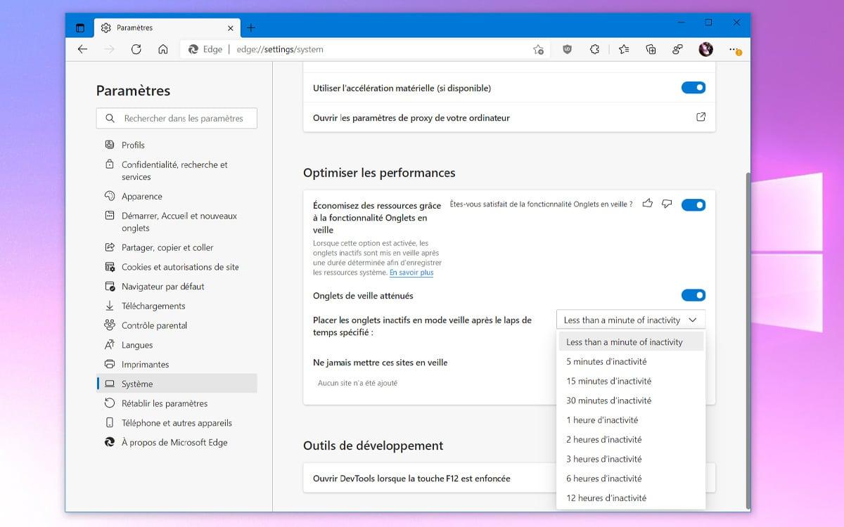 Microsoft Edge Reglage Onglet inactifs