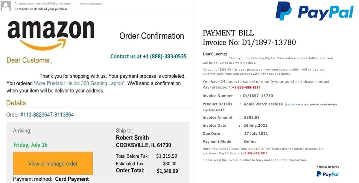 Tentative vishing Amazon PayPal