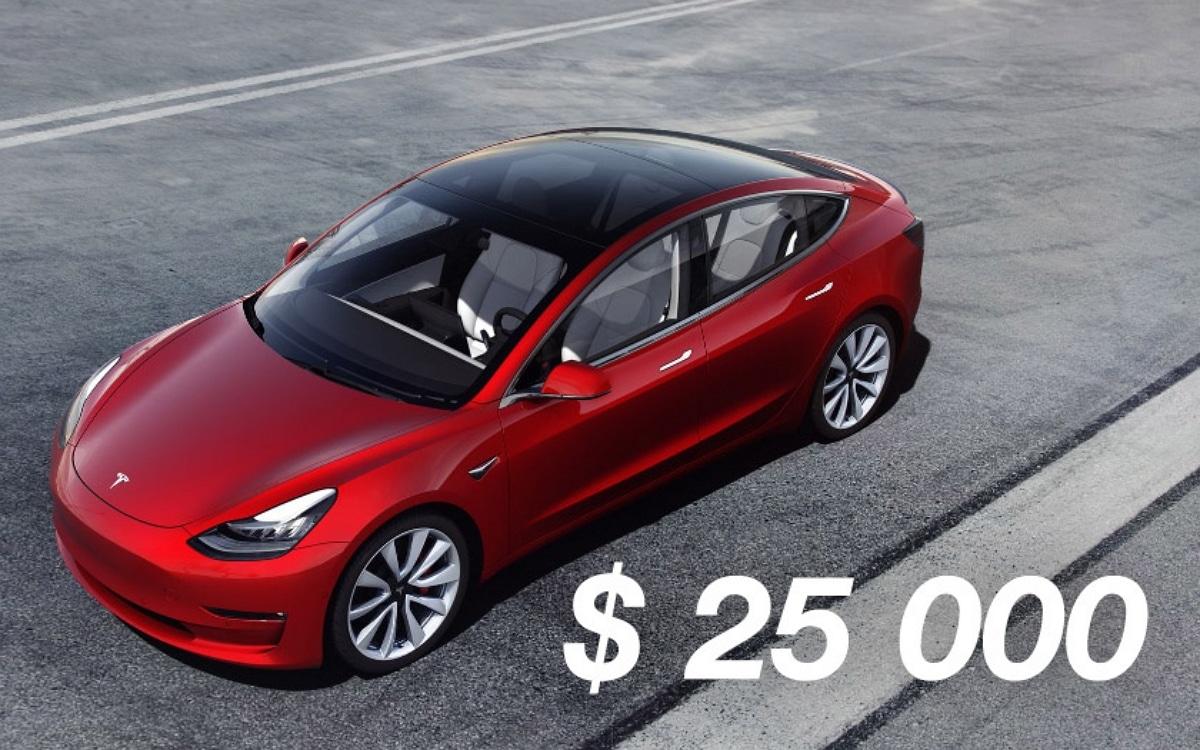 Tesla 25 000 dollars