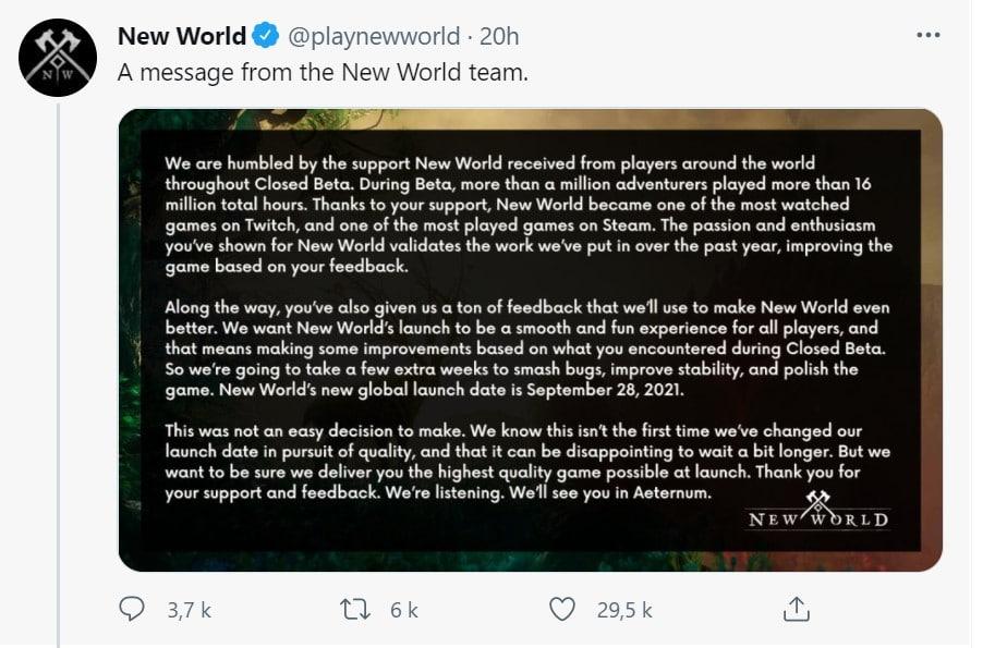 tweet new world report