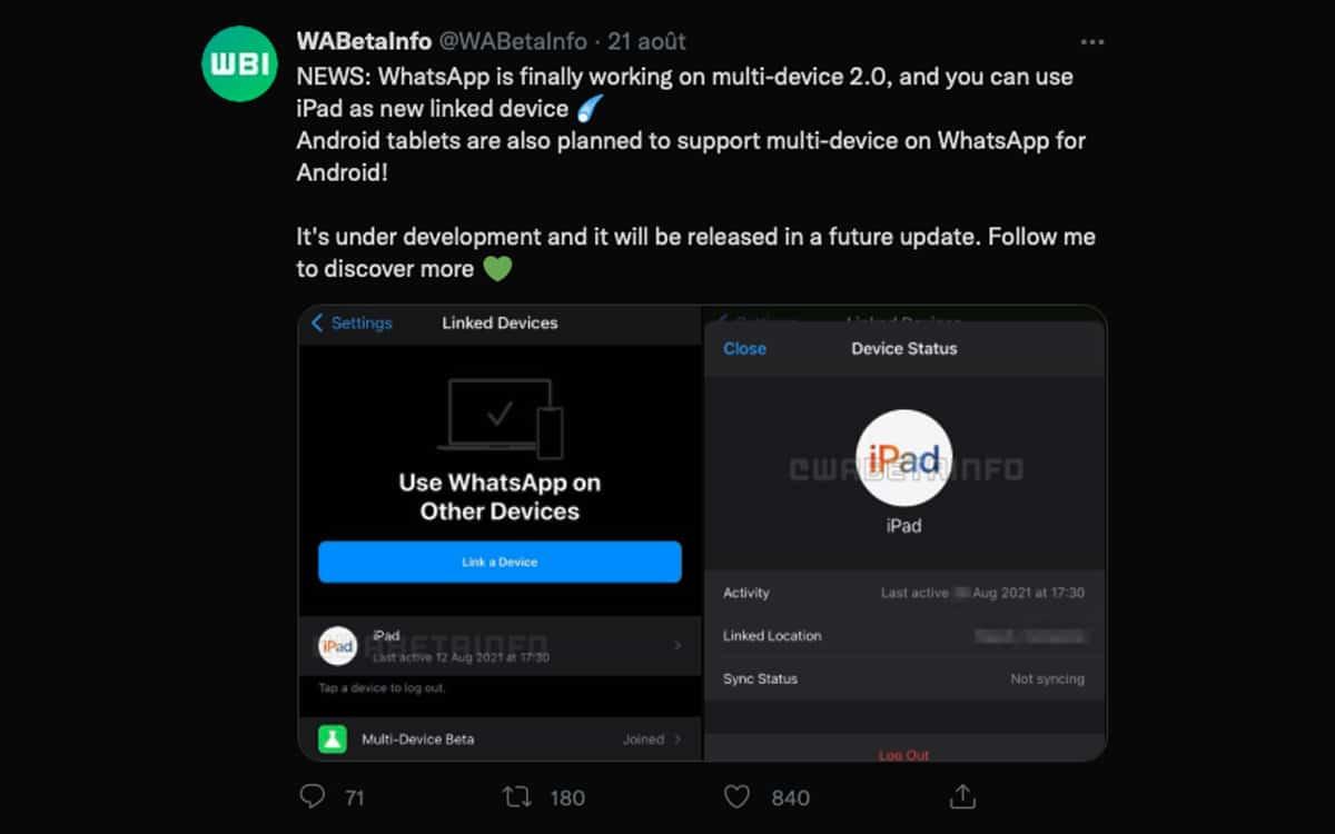 whatsapp ipad app native