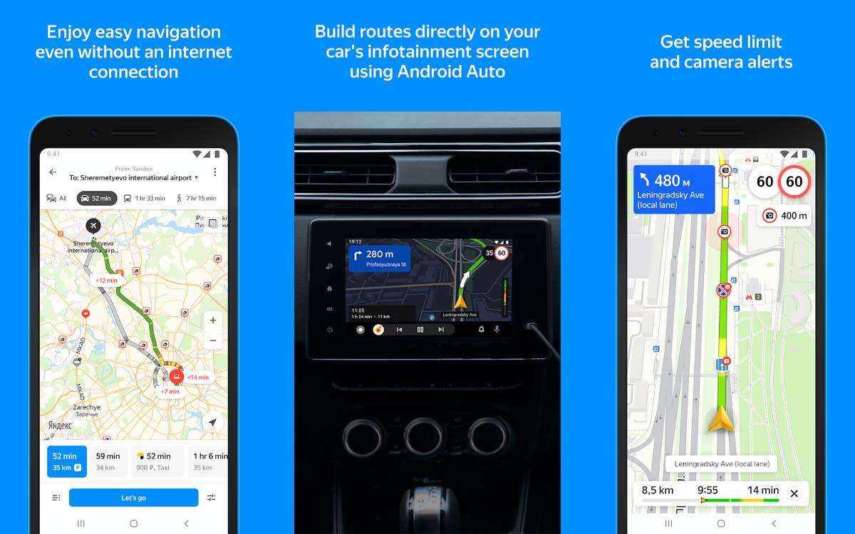 yandex maps android auto