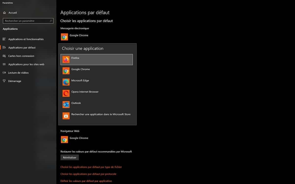 Navigateurs par défaut Windows 10