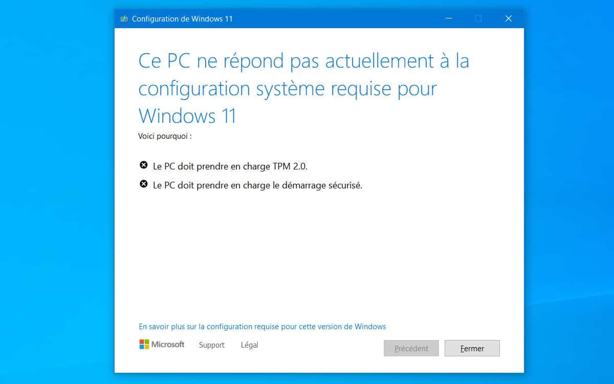 Windows 11 installation impossible probleme TPM