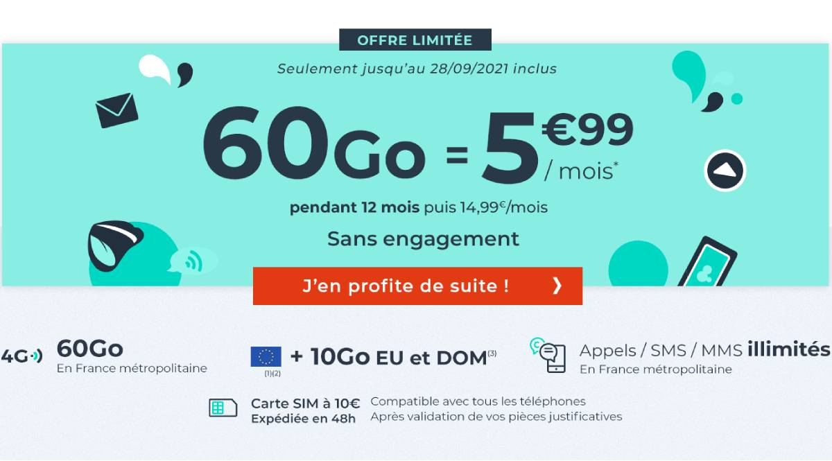 60 Go Cdiscount Mobile package for the French Days