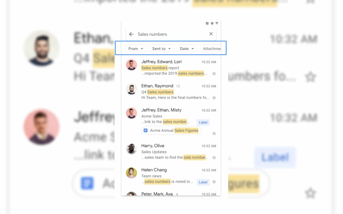 gmail android recherche