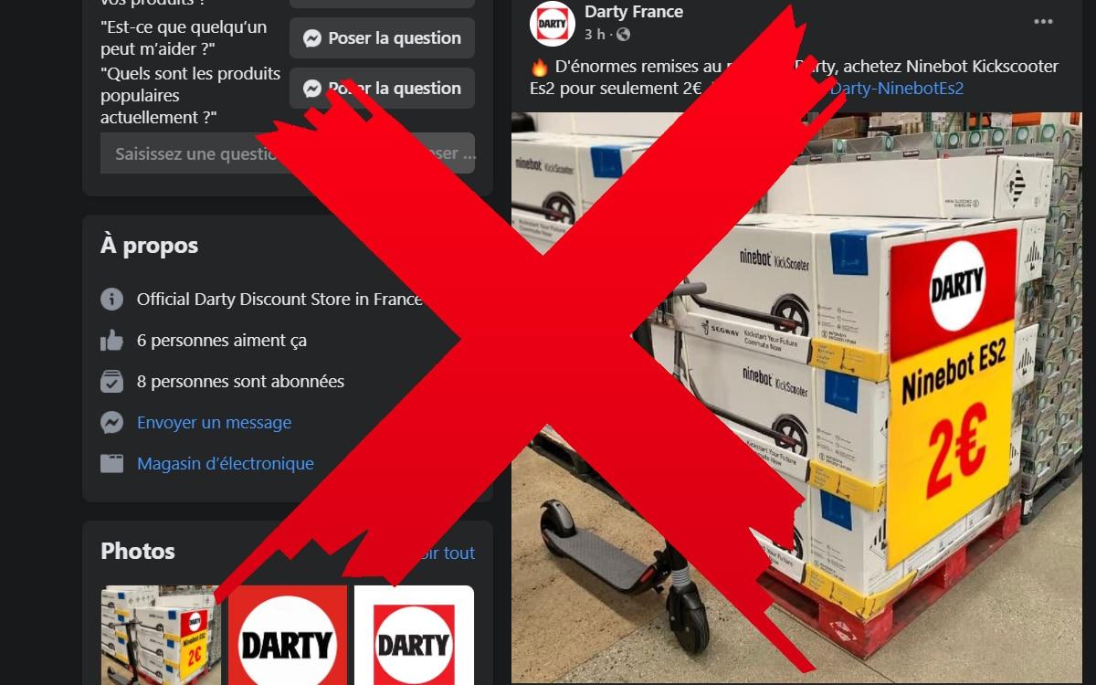 Facebook scam Darty Scooter 2 euros