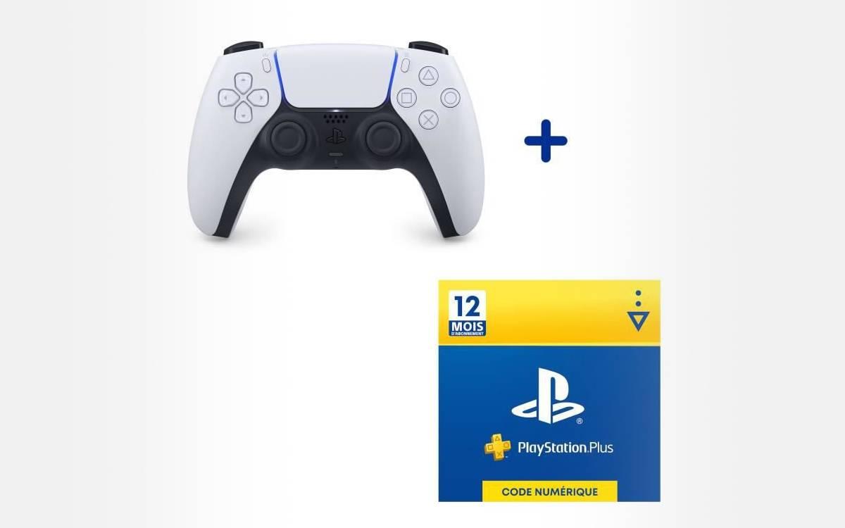 pack manette DualSense PS5 abonnement 12 mois PS Plus chez Cdiscount